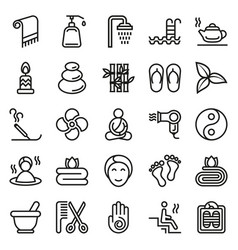 outline web icon set - spa beauty vector image