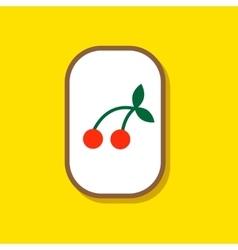 Paper sticker on stylish background cherry fruit vector