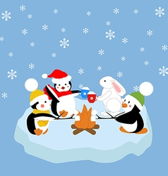 Penguins and white rabbit fried marshmelou vector