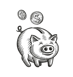 piggy bank and coins sketch moneybox cashback vector image