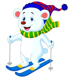 Polar bear cartoon skiing vector image