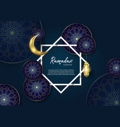 Ramadan kareem islamic premium with moon and vector