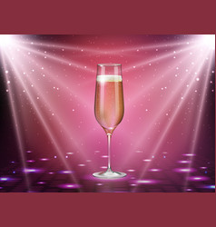 Realistic of champagne glass on pink background vector