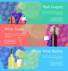 Red and white wine promotional internet pages set vector
