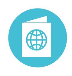 round icon blue passport cartoon vector image