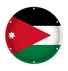 Round metallic flag of jordan with screw holes vector