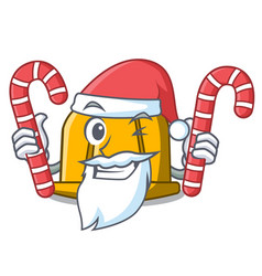 santa with candy construction helmet mascot vector image