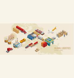 Scheme stages global logistics vector