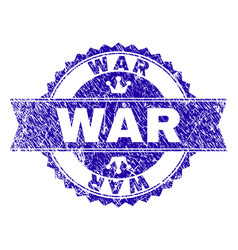 Scratched textured war stamp seal with ribbon vector