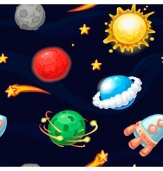 Seamless pattern with rocket and fantastic planets vector image