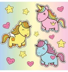 Set collection of cute kawaii style horses vector