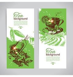 Set of tea vintage banners vector