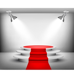 Showroom with red carpet vector image vector image