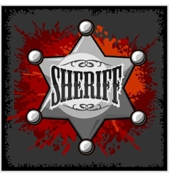 Silver sheriff star badge on vector