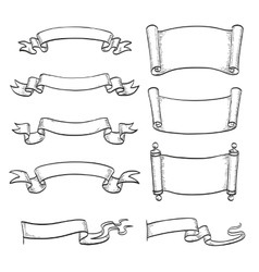 sketch set ribbons and scrolls vector image