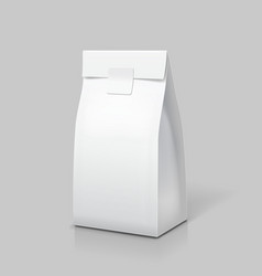 Slim paper bag package white blank pack for food vector
