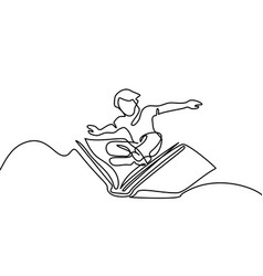 Small boy flying with book in the sky vector