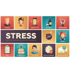 Stress at work - line design icons set vector