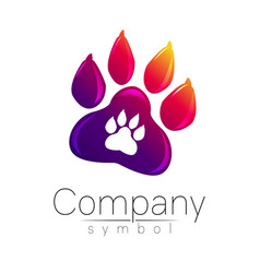 symbol of pet paw animal sign for company shop vector image
