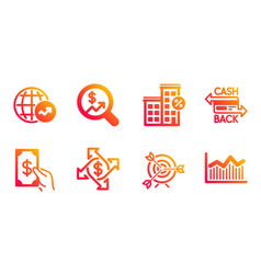 target loan house and receive money icons set vector image