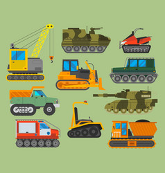 Tracked caterpillar excavator tractor vector