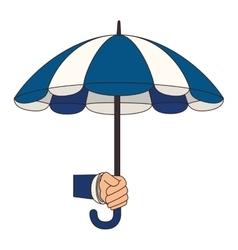 Umbrella hand open striped icon vector
