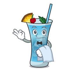 Waiter blue hawaii mascot cartoon vector