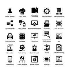 web hosting glyph icon designs 5 vector image