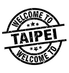 Welcome to taipei black stamp vector
