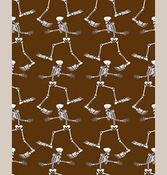 yeti skeleton pattern seamless bigfoot skull vector image
