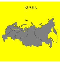 Contour map of Russia on a yellow vector image vector image