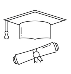 Graduation Hat and Diploma Thin Line Icon vector image