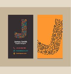 letter j logo business card vector image
