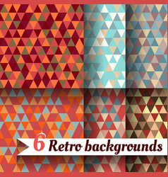 retro backgrounds with triangle set of 6 items vector image