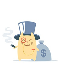 Character rich gentleman in a hat-cylinder and a vector image