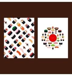 Japanese food sushi menu cover vector image