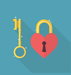 lock heart flat icon vector image vector image