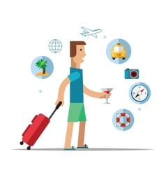 man traveler travel concept vector image vector image