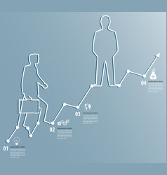 business graph with a man going to succeed vector image