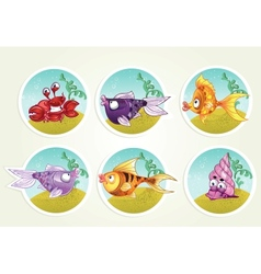 collection of marine life - fish crab snail vector image vector image