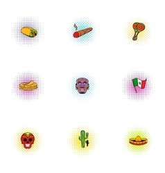 Holiday in Mexico icons set pop-art style vector image