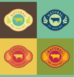 natural fresh beef food set vector image vector image