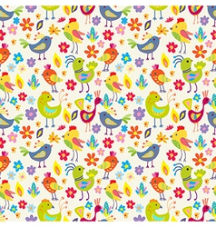 Seamless funny Cartoon Birds vector image vector image