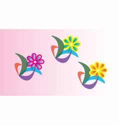 three abstract flowers vector image