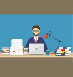 business man with office things vector image vector image
