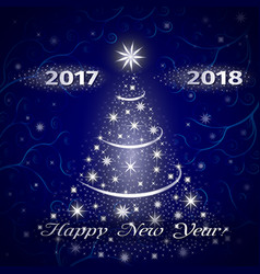 happy new year 2018 greeting card in blue vector image vector image