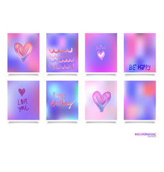 hologram bright colorful backgrounds set vector image