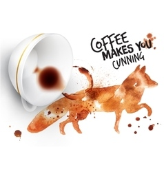 Poster wild coffee fox vector image vector image