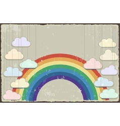 Vintage grunge background with rainbow vector image