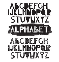 2 latin doodle funny alphabets vector image
